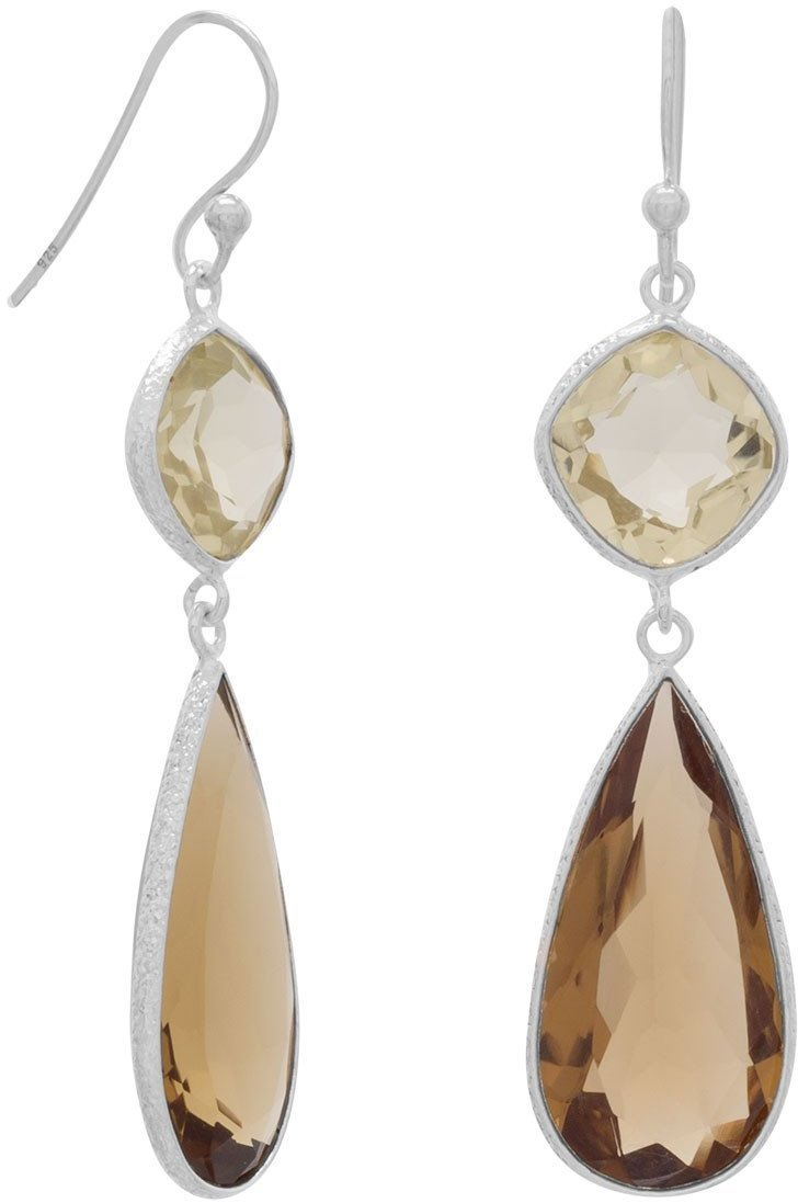 Quartz Drop Earrings 925 Sterling Silver