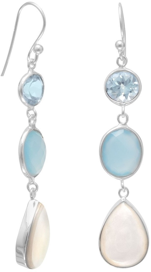Blue Multistone Drop Earrings 925 Sterling Silver