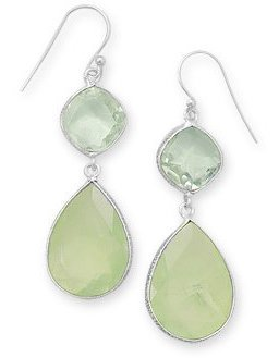 Green Amethyst and Prehnite Drop Earrings 925 Sterling Silver - LIMITED STOCK