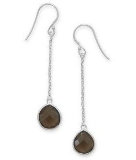 Smoky Quartz Chain Drop Earrings 925 Sterling Silver