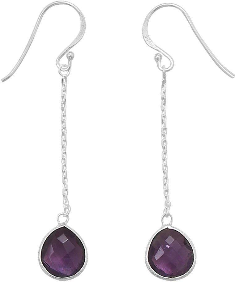 Amethyst Chain Drop Earrings 925 Sterling Silver