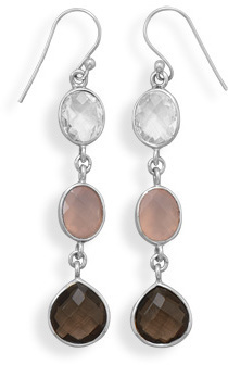 Clear Quartz, Chalcedony & Smoky Quartz Drop Earrings 925 Sterling Silver