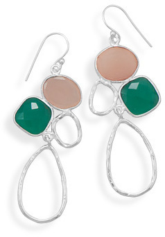 Multistone Geometric Drop Earrings 925 Sterling Silver