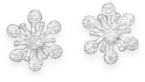 CZ Snowflake Studs 925 Sterling Silver