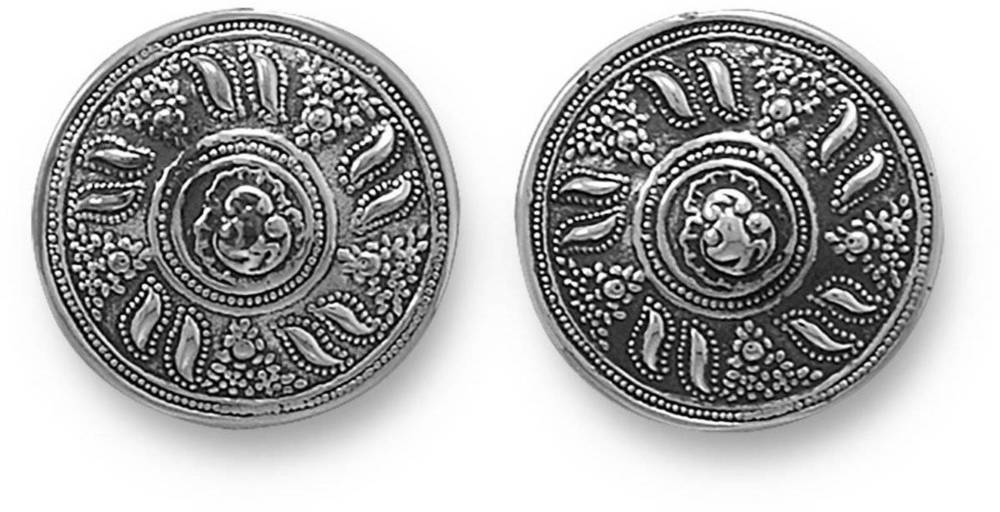 Oxidized Round Clip-On Earrings 925 Sterling Silver