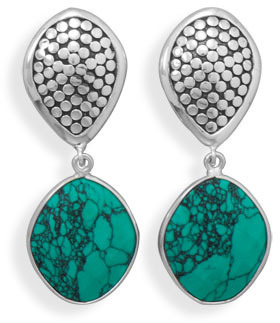 Oxidized Reconstituted Turquoise Clip-On Earrings 925 Sterling Silver
