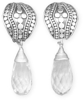 Briolette Drop Clip-On Earrings 925 Sterling Silver