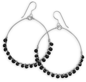 Black Spinel Bead Earrings 925 Sterling Silver