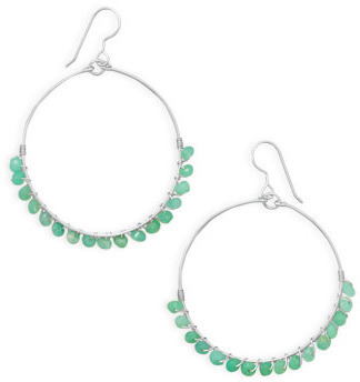 Chrysophase Bead Earrings 925 Sterling Silver