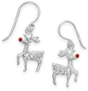 Red-Nosed Reindeer Earrings 925 Sterling Silver