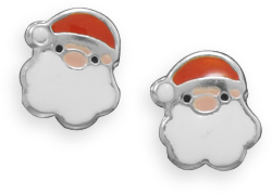 Santa Claus Post Earrings 925 Sterling Silver