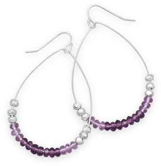 Pear Shape Purple Glass Bead Earrings 925 Sterling Silver