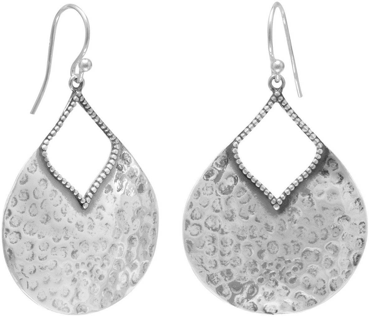 Oxidized Hammered Pear Shape Earrings 925 Sterling Silver