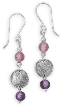 Earrings with Glass Bead and Disc Drops 925 Sterling Silver