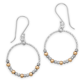 Two Tone Open Circle Beaded Earrings 925 Sterling Silver- DISCONTINUED