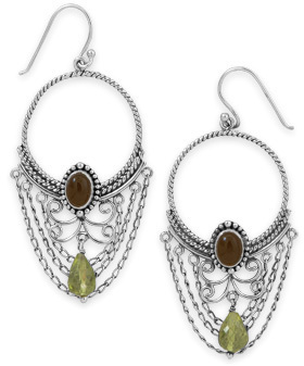Oxidized Multistone Ornate Earrings 925 Sterling Silver