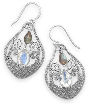 Oxidized Moonstone and Labradorite Drop Earrings 925 Sterling Silver