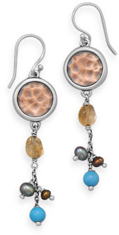 Multistone Copper and Sterling Silver Earrings 925 Sterling Silver