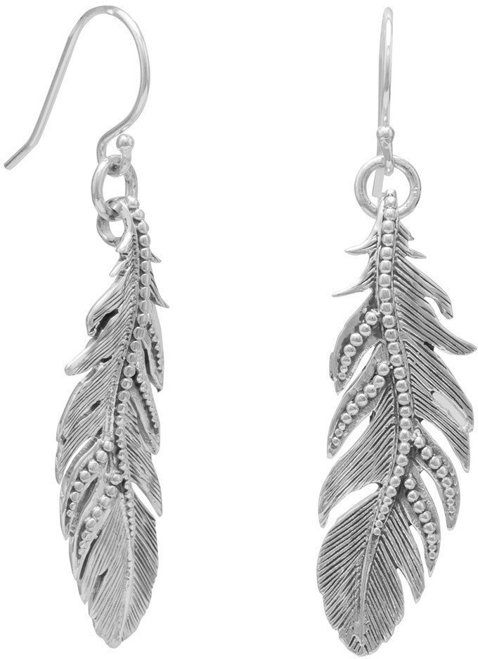 Oxidized Feather Earrings 925 Sterling Silver