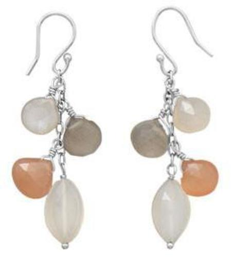 Multicolor Moonstone Drop Earrings 925 Sterling Silver