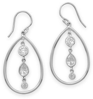 Multishape CZ Drop Earrings 925 Sterling Silver