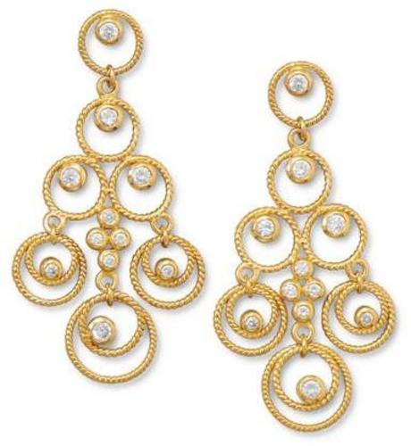 14 Karat Gold Plated CZ Chandelier Earrings 925 Sterling Silver