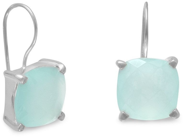 Square Chalcedony Earrings 925 Sterling Silver