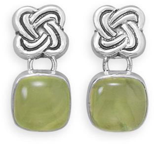 Oxidized Prehnite Celtic Knot Earrings 925 Sterling Silver