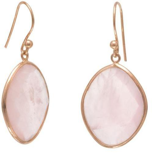 14 Karat Gold Plated Rose Quartz Earrings 925 Sterling Silver
