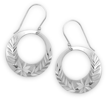 Floral Design Diamond Cut Circle Earrings 925 Sterling Silver