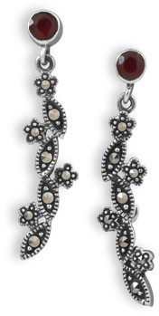 Garnet and Marcasite Drop Earrings 925 Sterling Silver - DISCONTINUED