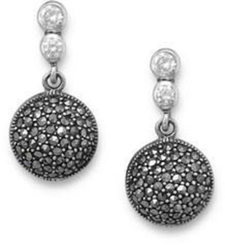 Marcasite and CZ Drop Earrings 925 Sterling Silver