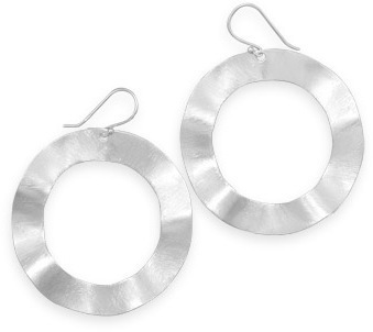 Wavy Brushed Circle Earrings 925 Sterling Silver