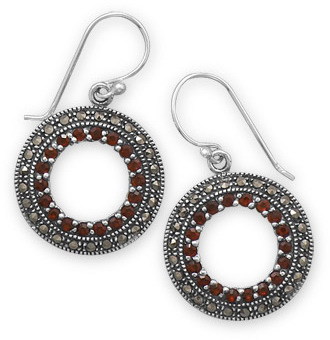 Marcasite and Garnet Circle Earrings 925 Sterling Silver