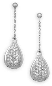 Rhodium Plated Pave CZ Drop Earrings 925 Sterling Silver