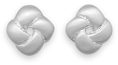 Brushed Love Knot Earrings 925 Sterling Silver