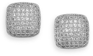 Rhodium Plated Micro Pave CZ Earrings 925 Sterling Silver
