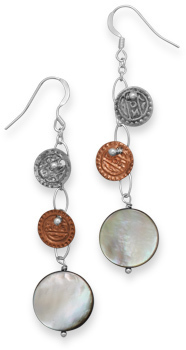 Two Tone Disc and Shell Earrings 925 Sterling Silver