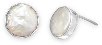 Cultured Freshwater Coin Pearl Stud Earrings 925 Sterling Silver