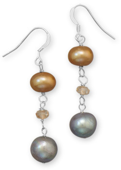Gold and Grey Cultured Freshwater Pearl Earrings 925 Sterling Silver