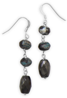 Agate Bead Drop Earrings 925 Sterling Silver