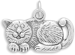Oxidized Cat Charm 925 Sterling Silver
