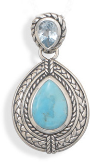 Blue Topaz and Turquoise Pendant 925 Sterling Silver
