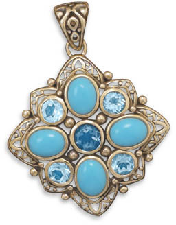Bronze Pendant with Blue Topaz and Turquoise