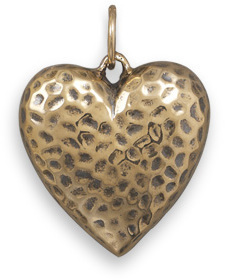 Bronze Puffy Heart Pendant