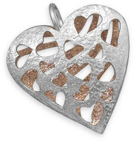 Two Tone Reversible Heart Pendant 925 Sterling Silver