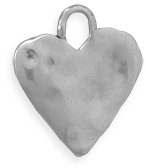 "16.5mm (11/16"") Oxidized Heart Pendant 925 Sterling Silver"