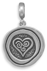 "17mm (11/16"") Oxidized Heart & Swirl Pendant 925 Sterling Silver"