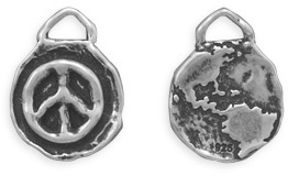 Oxidized Reversible Peace Charm 925 Sterling Silver