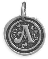 "Oxidized Initial ""A"" Pendant 925 Sterling Silver"